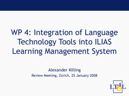 WP1: Integration of language resources in