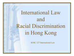 International Law and Racial Discrimination in
