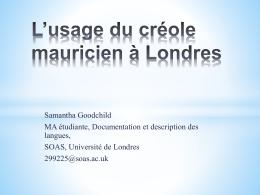 L'usage du créole mauricien à Londres