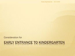 Early Entrance to Kindergarten