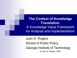 The Context of Knowledge Translation: A Knowledge