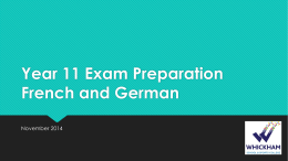 Year 11 Exam Preparation French and German