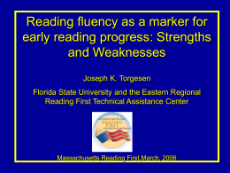 Reading fluency as a marker for early reading