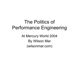 The Politics of Performance Engineering