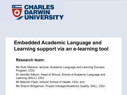 Embedded Academic Language and Learning support