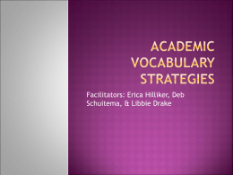 Academic Vocabulary Strategies