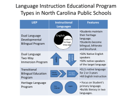 Language Instruction Educational Program Types in