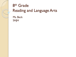 8th Grade Reading and Language Arts