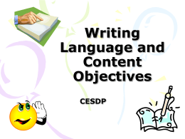 Writing Language and Content Objectives #2 -