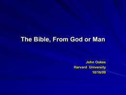 The Bible - John Oakes