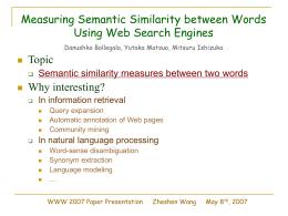 WWW 2007 Paper Presentation