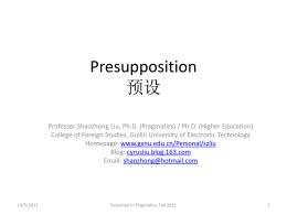 Presupposition 预设