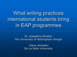 What writing practices international students