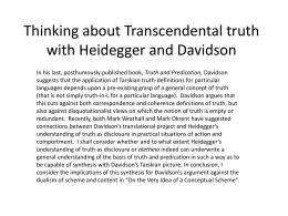 Thinking about Transcendental truth with Heidegger