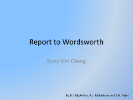 Report to Wordsworth - English Language and