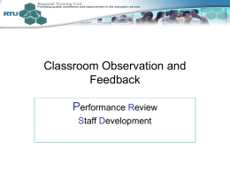 Classroom Observation and Feedback