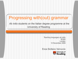 Progressing with(out) grammar