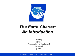 Agenda - Earth Charter Initiative