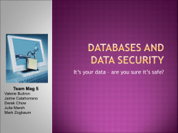 Databases and data security