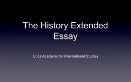 The History Extended Essay