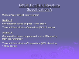 GCSE English Literature Specification A