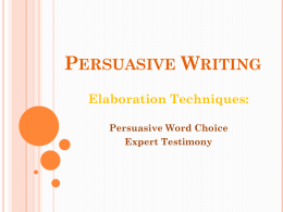 Persuasive Writing - North Thurston Public Schools