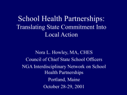School Health Partnerships: Translating State