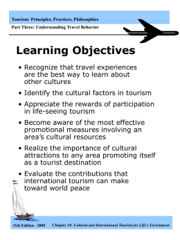 Tourism: Principles, Practices, Philosophies Part