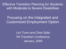 Transition Planning for Students with Moderate to
