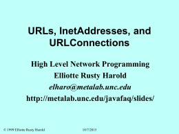 URLs, InetAddresses, and URLConnections