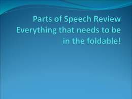 Parts of Speech Review Everything that needs to be
