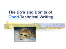 The Do's and Don'ts of Good Technical CONTENT