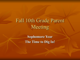 Fall 10th Grade Parent Meetng
