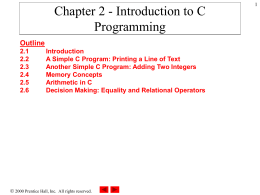 Chapter 2 - Introduction to C Programming