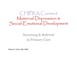 CHIPRA Connect Maternal Depression &
