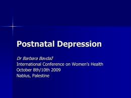 Postnatal Depression - An