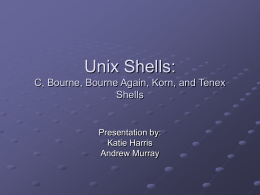 Unix Shells: C, Bourne, Bourne Again, Korn, and