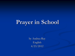 Prayer in School - Kentucky Department of