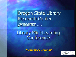 Oregon State Library Research Center presents