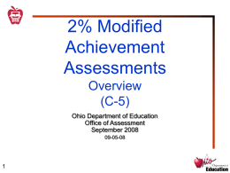 "Discussion ""2%"" Modified Achievement Assessments"
