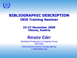 INIS Training Seminar