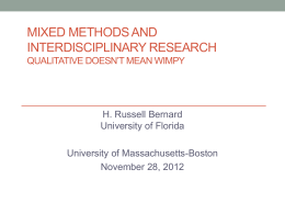 Mixed Methods and Interdisciplinary Research