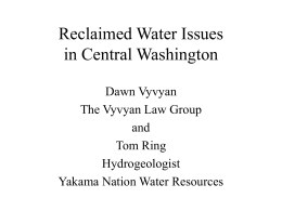 Reclaimed Water Issues in Central Washington
