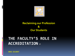 The Faculty's Role in Accreditation