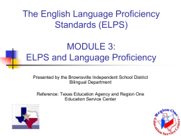 The Revised English Language Proficiency Standards