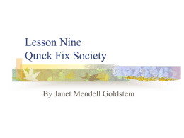 Lesson Nine Quick Fix Society