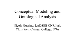 Conceptual Modeling and Ontological Analysis