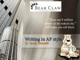Writing in AP style - Missouri State University