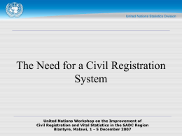 Civil Registration and Vital Statistics in the