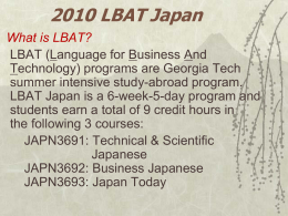 LBAT-Japan 2005 - Japanese Language Course Support